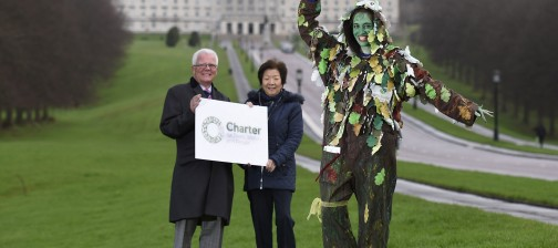 PRESS RELEASE IMAGE  25/1/16:  The Woodland Trust is leading over 40 organisations in the creation of a modern-day Charter for Trees, Woods and People.  Pictured launching the campaign are the Woodland Trust's director Patrick Cregg and tree lady Rosie Irwin; with Anna Lo MLA, Chair of the Assembly's Environment Committee. The charter will be rooted in individuals' stories and memories of trees; it will enlist the support of Champions who will organise events that reconnect people with nature; and will provide guidance to help shape government policy.  Find out how to get involved at www.treecharter.uk  Picture: Michael Cooper
